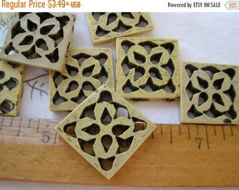 """Square Buttons 32MM Novelty Banana geometric carved 10 each 50L 1.25"""" plastic knit crochet embellish sew on large holes matte antique finish"""