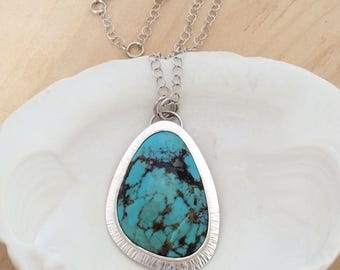 Large Silver and Turquoise Pendant, Sterling Silver Necklace