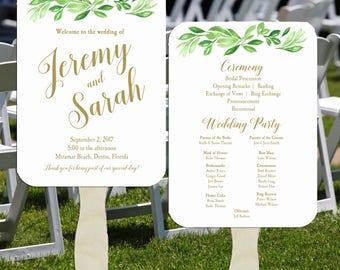 Wedding Program Fans Printable or Printed/Assembled with FREE Shipping - Greenery Collection