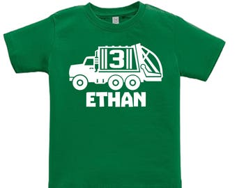 Garbage Recycling Truck Trash Shirt - any age and name - pick your colors!