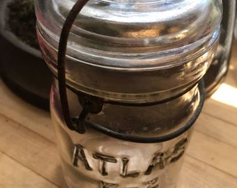 Vintage Atlas glass top canning jar