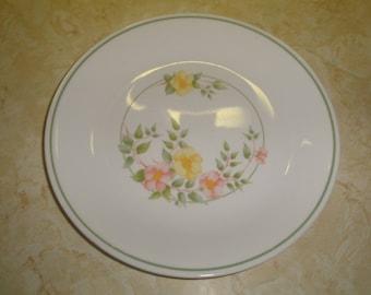 3 vintage corelle salad plates windsor rose yellow pink flowers
