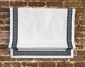 Greek Key Roman Shade - 30 linen color options - 13 greek key colors - 3 lining options including blackout - high quality - made to order.