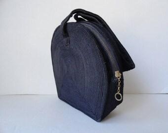 1940s Vintage NAVY BLUE CORDE Handbags|Corde Wristlets Strap Purse|Navy Blue Canteen Handbags|Vintage Wedding Purse|Bridal Purse Bag