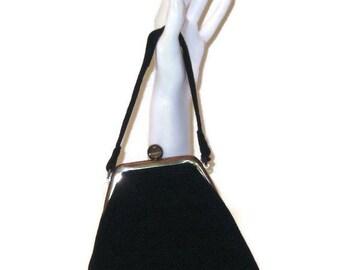 50s Black Purse, Black Evening Bag, Corde Cocktail Bag, 50s Black Corde, Vegan Friendly, Black Cocktail Bag