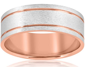 White and Rose Gold, Men's Band, Brushed Man's ring 14k Rose Gold 8MM Two Tone Flat Brushed Comfort Fit Mens Wedding Band