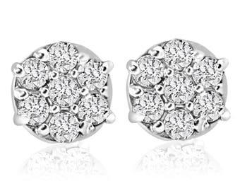 Diamond Studs Screw Back 1/4 cttw Diamond Cluster Studs in 10k White Gold