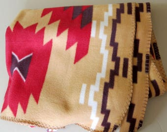 Western Indian Blanket Throw Fleece Product St Labre Indian School Montana 40 by 64 inches 931b