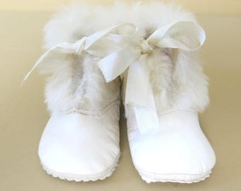 Vintage Baby Slippers White Kid Leather Lamb Wool Cuffs Size 1  847b