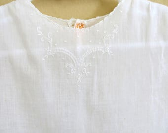 Vintage Baby Dress White Batiste Hand Stitched Embroidery Made in Philippines Size 6 to 12 Months 718b
