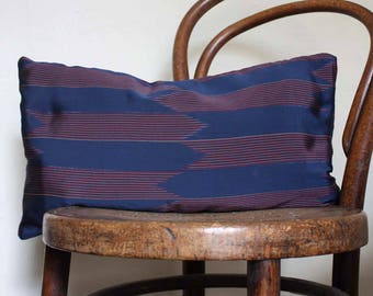 Silk Ikat Arrows Recycled Decorative Pillow / Throw Cushion Cover. Blue red. 30x50cm.12x20'' .