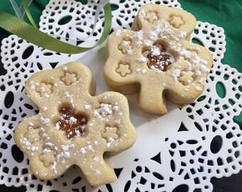 Shamrock shaped Sugar Cookies with Peach Jam-1 dozen Spring Jammies- St Patricks Day gift for Her, Him,Teachers, Parties, Friends