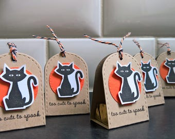 Halloween Treat Boxes Set of 5, Black Cat Party Favors, Cat Candy Wrappers, Hershey Nugget Candy Packages, Halloween Cats, Too Cute to Spook