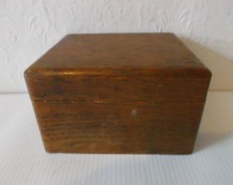 Antique 1930s Oak Wood Box 30s Keepsake Jewellery Trinket Box Mens Cuff Link Box