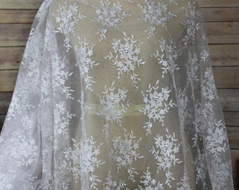 Ivory Bridal Lace With Allover Embroidery Flower Motif with Scalloped Edges-Bridal Wear-Veils-Couture Dress-Dream Full Gown-Darling Skirts