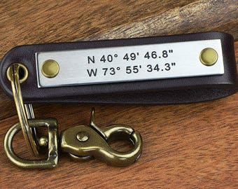 Custom Coordinates Keychain - Personalized Keychain - GPS Coordinates Latitude Longitude or ANY Text 40 Char - Made in USA