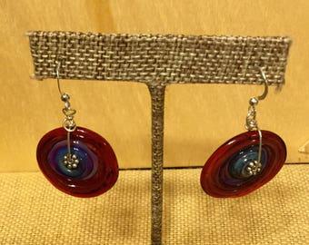 Flamework glass disc earrings sterling silver