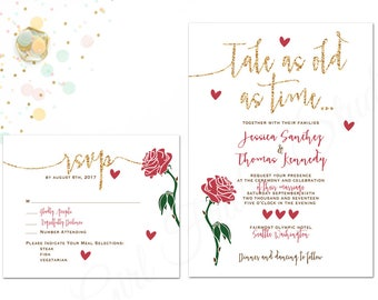 beauty and the beast wedding invitation be our guest wedding invite bride and - Beauty And The Beast Wedding Invitations