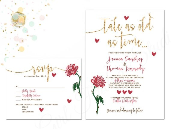 Beauty And The Beast Wedding Invitation Be Our Guest
