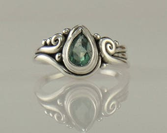 R1122- Sterling Silver Ring with Blue Tourmaline- One of a Kind