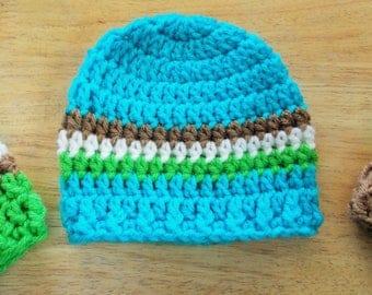 Handmade Crochet Baby Boy Hat, Newborn Beanie, Newborn Hat, Baby Boy Beanie, Made to Order, You Choose, Blue, Green, Brown, Yellow