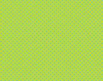 Deena Rutter Fabric, Happier by Deena Rutter for Riley Blake Fabrics, C5505 Aqua Dots on Green