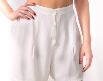1940's White Rayon Tap Pants/ 40's High Waisted Shorts