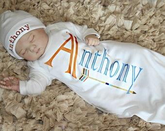 Newborn Boy GiftNewborn Baby Boy Personalized Take Home Hospital Outfit Baby Boy Clothes Gown Personalized Beanie Hat Option Baby Boy Gift