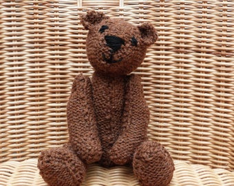 """8""""  Brown Teddy Bear Hand-Made Old Fashioned Vintage-Style Ginger Brown Teddy  Brown Bear Teddy Hand Knitted Teddy Bear in 100% Wool"""