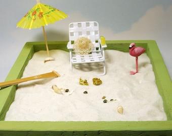 miniature zen beach garden kit, metal chair, straw hat, beverage, shells and more
