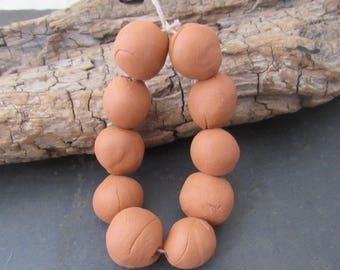 10 Medium Unglazed Red Terracotta Clay Beads