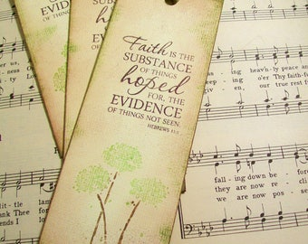 Scripture Bookmarks, Set of 3, Hebrews 11:1, Faith is the Substance of Things Hoped For, Christian Gifts, Sunday School Gifts