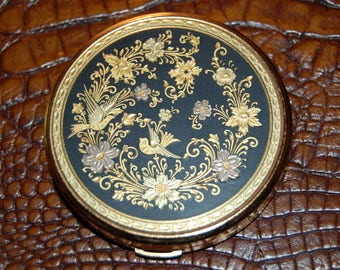 Damascene Toledo Spain Mid Century Mirrored Compact Mirrored Powder Compartment Engraved Inlaid 22 K Gold