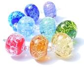 Rainbow bubble orphans - handmade lampwork bead set of 9 glass bubble renegade beads