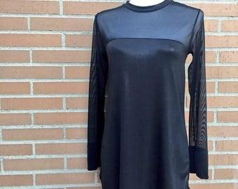Black Sheer Transparent Long Sleeves Tunic Top, Women's Fashion, Casual Wear