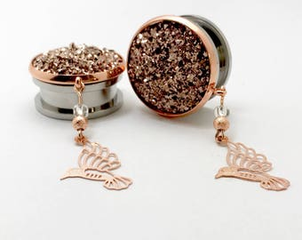 "7/8"" Dangle Gauges 25mm 1"" Rose Gold Plugs and Ear Tunnels 13/16"" 20mm Druzy Dangle Plugs with Hanging Birds"