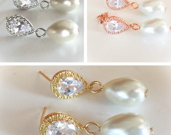 Bridal pearl dangle earrings, Pearl earrings, wedding jewelry, bridal earrings