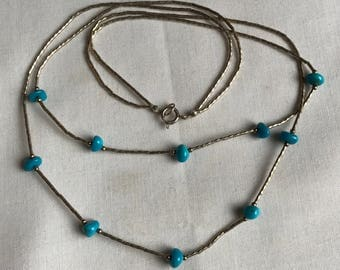 Double Strand Sterling Silver Beaded Necklace With Turquoise Stones