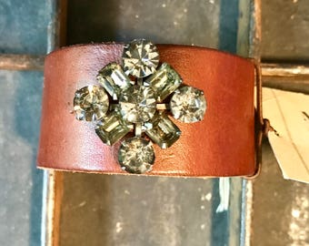 Brown Leather Cuff Bracelet Adorned with Vintage Jewelry  V877 madeinthedeepsouth
