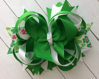 Girls green clover St Patrick's Day boutique style hair bow