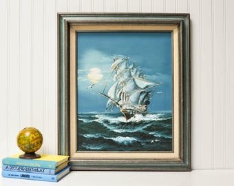 Vintage Signed and Framed Clipper Ship Painting - Seascape Painting