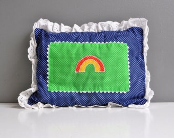 Vintage Rainbow Pillow with Eyelet Trim