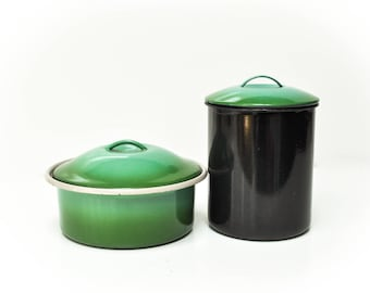 Vintage Pair of Green and Black Graniteware Containers - Canister and Cooking Pot