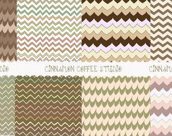 Brown Chevron Backgrounds, Chocolate Coffee Chevron Digital Papers, Retro Sweet Chevron Texture, set of 8