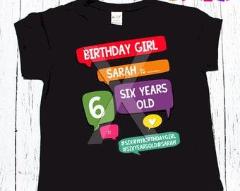 Birthday Tee birthday girls birthday raglan baseball regular tee shirt style tee shirt birthday girl 1, 2, 3 or beyond Conversation Boxes