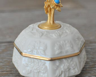 Lenox Jewelry Box, China Treasures Collection, Birth Stone, December, Blue Gemstone, Trinket, Narcissus, Heirloom, Mother's Day, Bridal