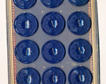 Vintage French Plastic Buttons - Blue#2 -   Set of 12 - One Inch