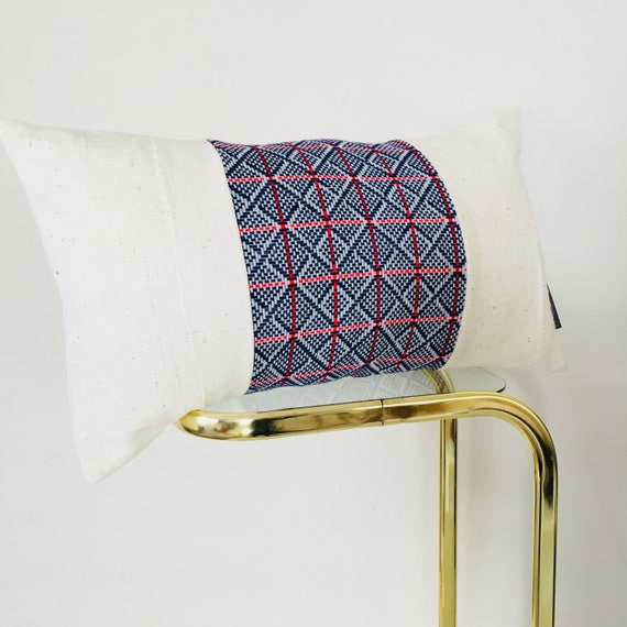 "Vintage Blue Geometric Pillow Cover 14""x24"" Lumbar Cushion Pillow Mid Century Modern Red Blue Pillow White Mudcloth"