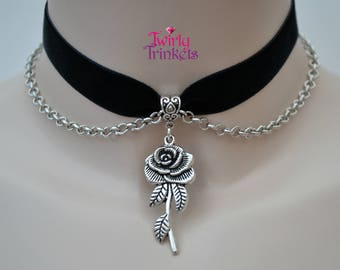 BLACK Chained Velvet Ribbon Choker With Rose Charm  - si... 30 quality colours, made to size :)