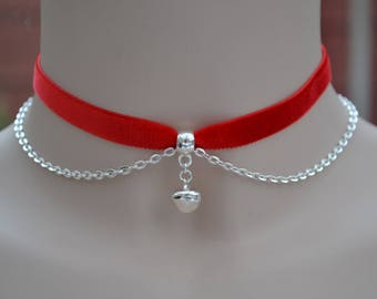 Jingle Bell Chain Red Velvet Choker, Silver Plated Accent Chain, Choose 10mm Colour